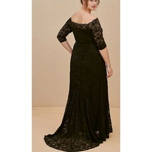 NWT Torrid Black Lace Off the Shoulder Maxi Dress
